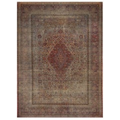 Antique Kashan Red and Blue Silk Persian Rug with Medallion Field Design