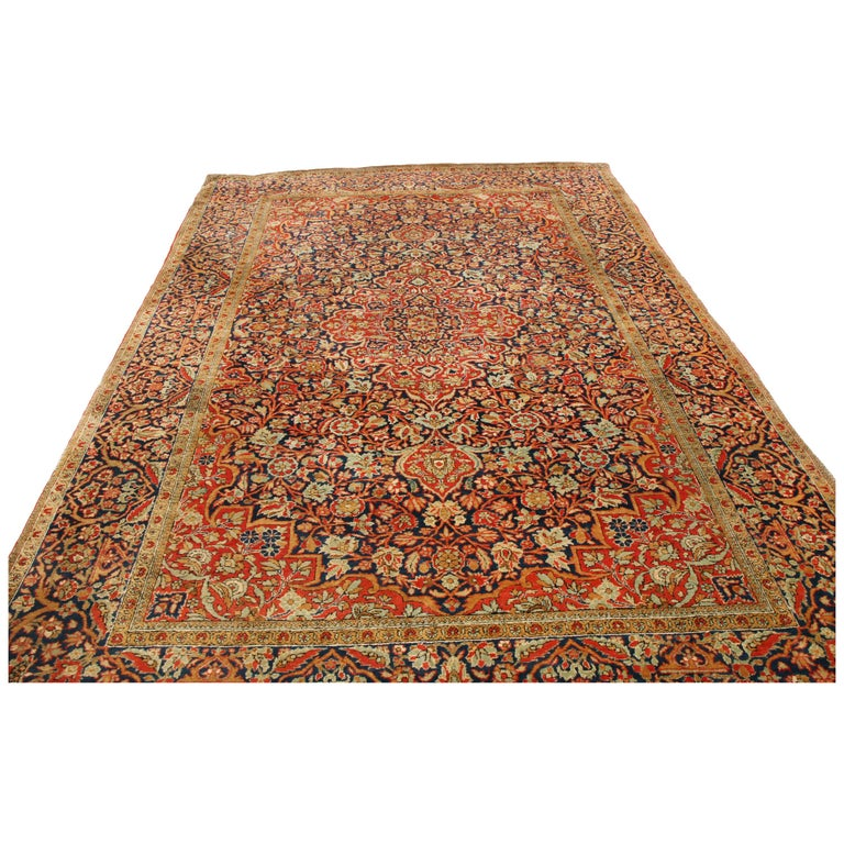 Antique Kashan Traditional Red And Blue Silk Persian Rug