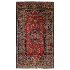 Antique Kashan Traditional Red and Navy Blue Wool Persian Rug