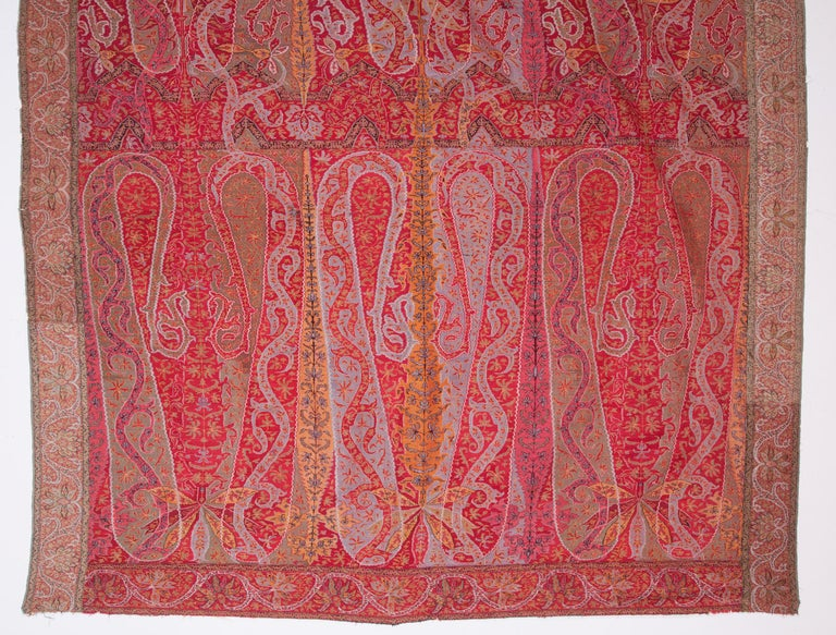 Islamic Antique Kashmir Long Shawl from India Early 19th Century, 1830s For Sale