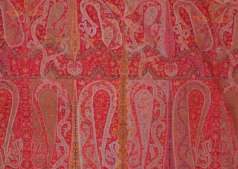 Indian Antique Kashmir Long Shawl from India Early 19th Century, 1830s For Sale
