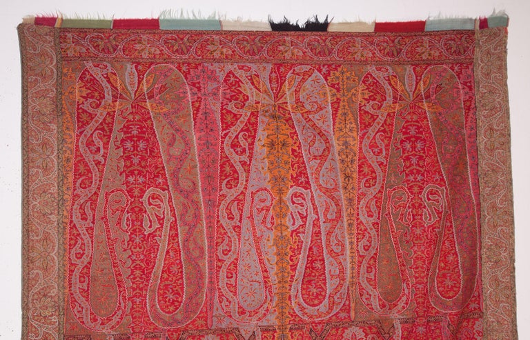 Hand-Woven Antique Kashmir Long Shawl from India Early 19th Century, 1830s For Sale