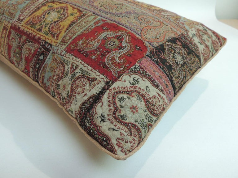 Indian Antique Kashmir Patchwork Paisley Long Bolster Decorative Pillow For Sale