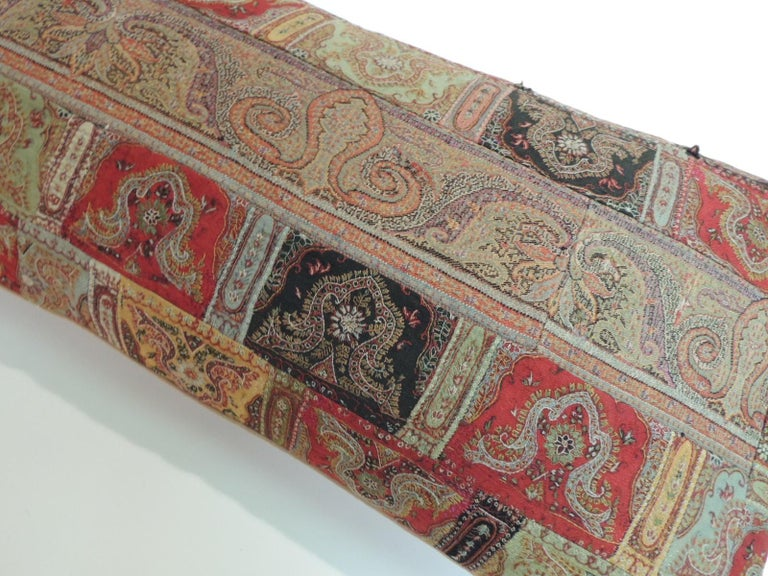 Antique Kashmir Patchwork Paisley Long Bolster Decorative Pillow In Good Condition For Sale In Fort Lauderdale, FL