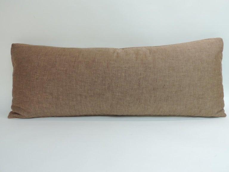 19th Century Antique Kashmir Patchwork Paisley Long Bolster Decorative Pillow For Sale