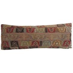Antique Kashmir Patchwork Paisley Long Bolster Decorative Pillow