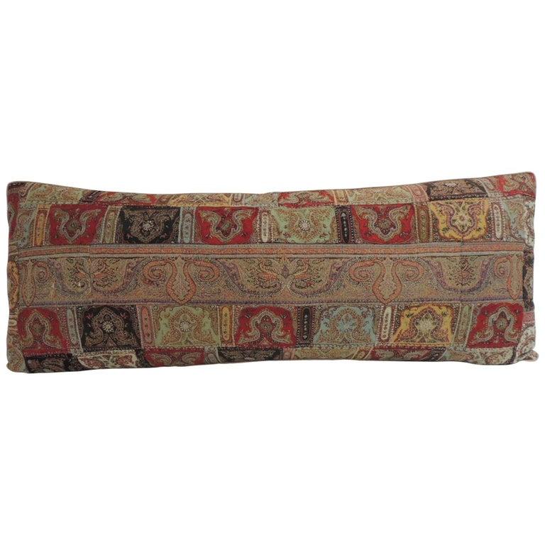 Antique Kashmir Patchwork Paisley Long Bolster Decorative Pillow For Sale