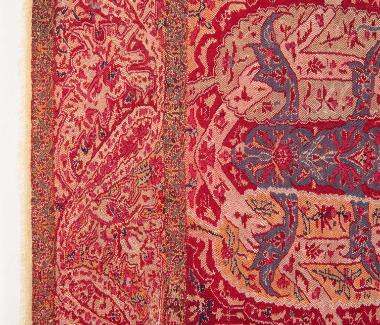 Hand-Woven Antique Kashmir Shawl from India, 19th Century For Sale