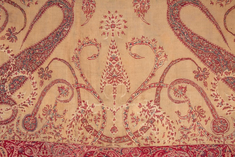 Antique Kashmir Shawl from India, 19th Century In Good Condition For Sale In Istanbul, TR