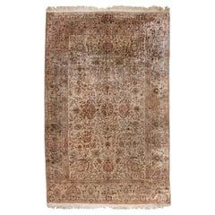 Antique Metallic Silver Floral Turkish Kaysari Silk Carpet circa 1940s