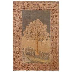 Antique Kayseri Beige Green Wool Rug with Flourishing Tree Design Floral Pattern
