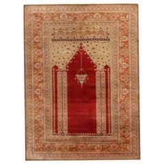 Antique Kayseri Crimson Red and Beige Geometric-Floral Wool Rug