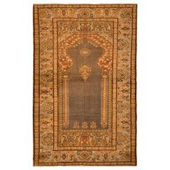 Antique Kayseri Rug, Beige Red Mihrab Floral Pattern