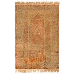 Antique Kayseri Rug in Orange Golden Floral Medallion Pattern