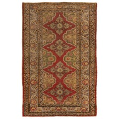 Antique Kayseri Traditional Geometric Red and Gold Wool Rug