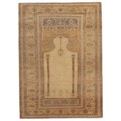 Antique Kayseri Traditional Tan Beige Wool Rug