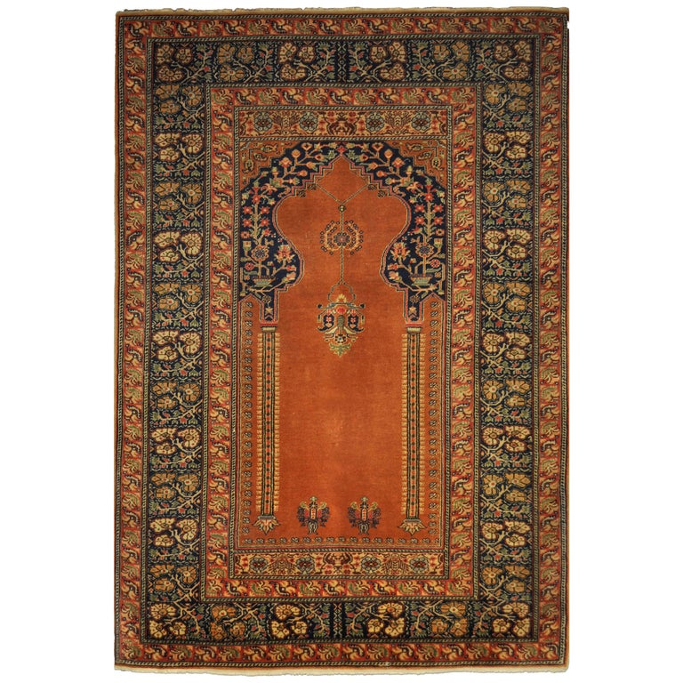 Antique Kaysery Turkey Hand Knotted Wool Rug, circa 1950 For Sale
