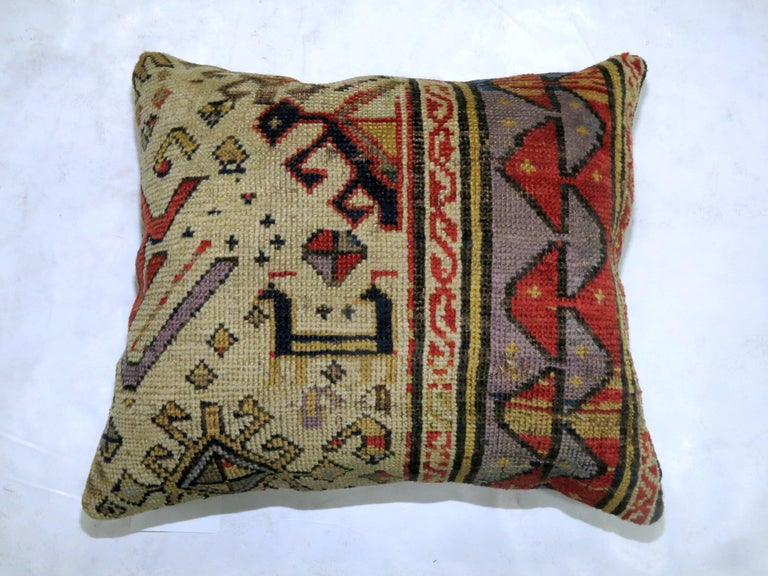 Antique Kazak Bird Pillow In Excellent Condition For Sale In New York, NY
