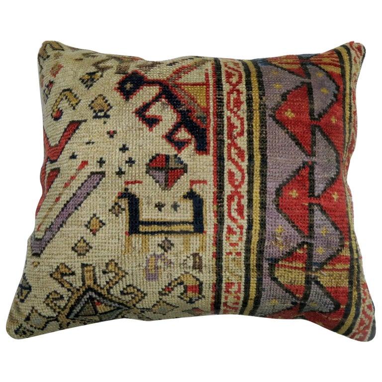 Antique Kazak Bird Pillow For Sale