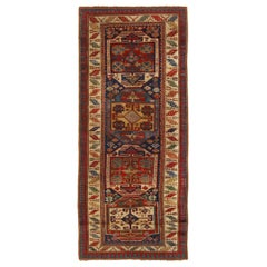 Antique Kazak Blue and Beige Geometric Wool Runner