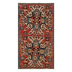 Antique Kazak Blue, Red and White Handwoven Wool Rug