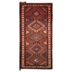 Antique Kazak Rug Pink and Blue Geometric Tribal Pattern