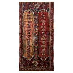 Antique Kazak Rug Red and Blue Tribal Pattern