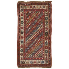 Antique Kazak Runner, Handmade Oriental Rug, Red, Blue, Yellow, Off-White, Green