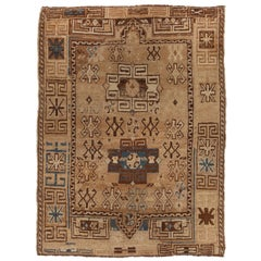 Antique Kazak Traditional Geometric Beige and Blue Wool Rug