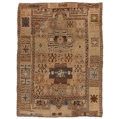 Antique Kazak Traditional Geometric Beige and Blue Wool Rug