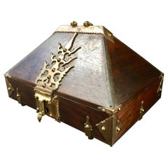 Antique Kerala Ethnic Indian Mahogany Jewelry Box with Brass Mounting