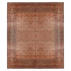 Antique Kerman Beige-Brown and Red Wool Persian Rug
