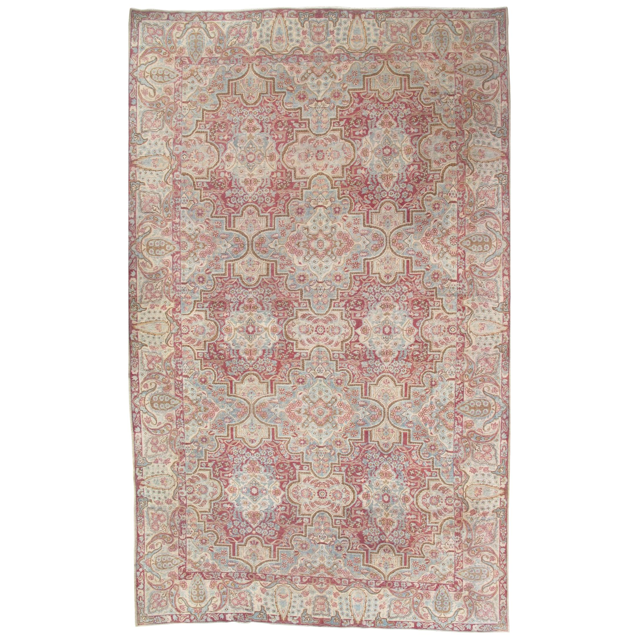Antique Kerman Carpet, Handmade Persian Rug Wool Carpet Lt Blue, Beige and Coral