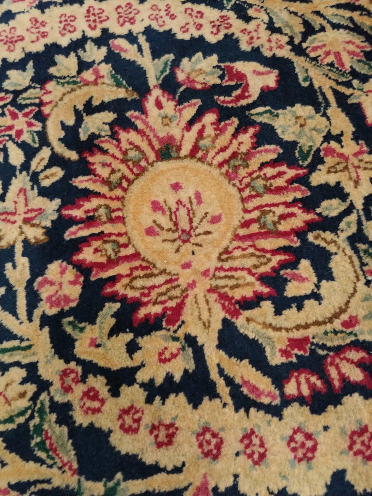 Antique Kerman Carpet, Persian Handmade Oriental Rug, Red and Blue, Allover For Sale 4