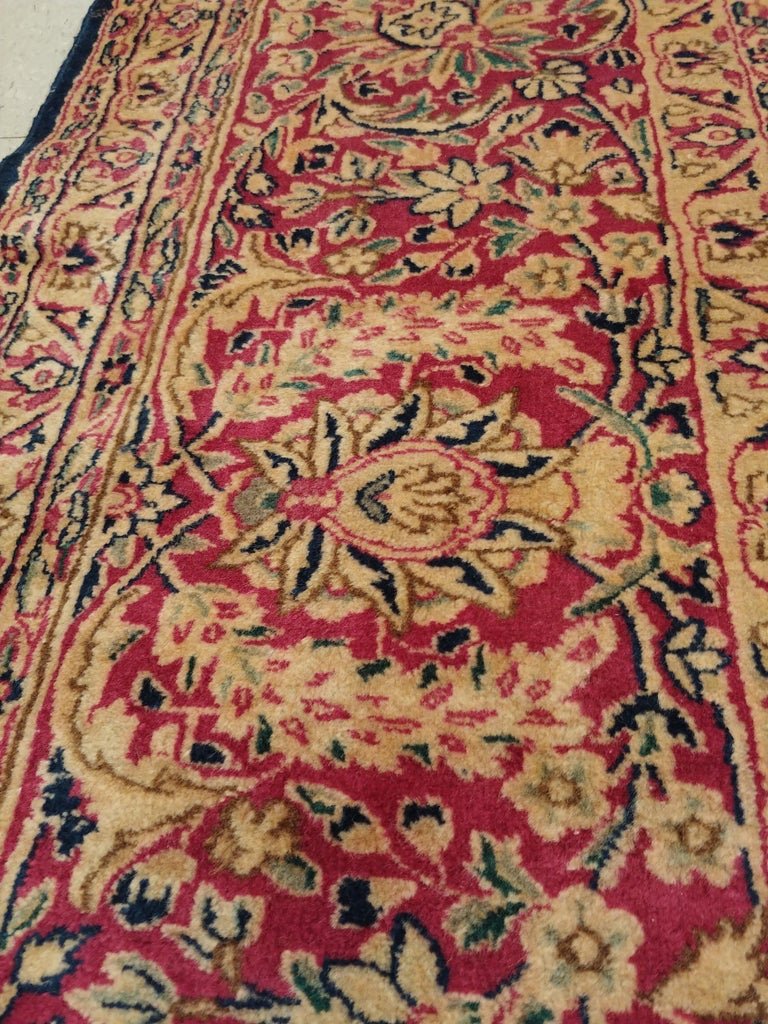 Antique Kerman Carpet, Persian Handmade Oriental Rug, Red and Blue, Allover For Sale 5