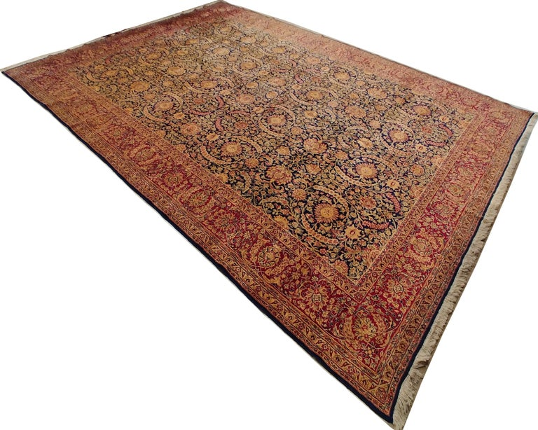 Antique Kerman Carpet, Persian Handmade Oriental Rug, Red and Blue, Allover For Sale 6