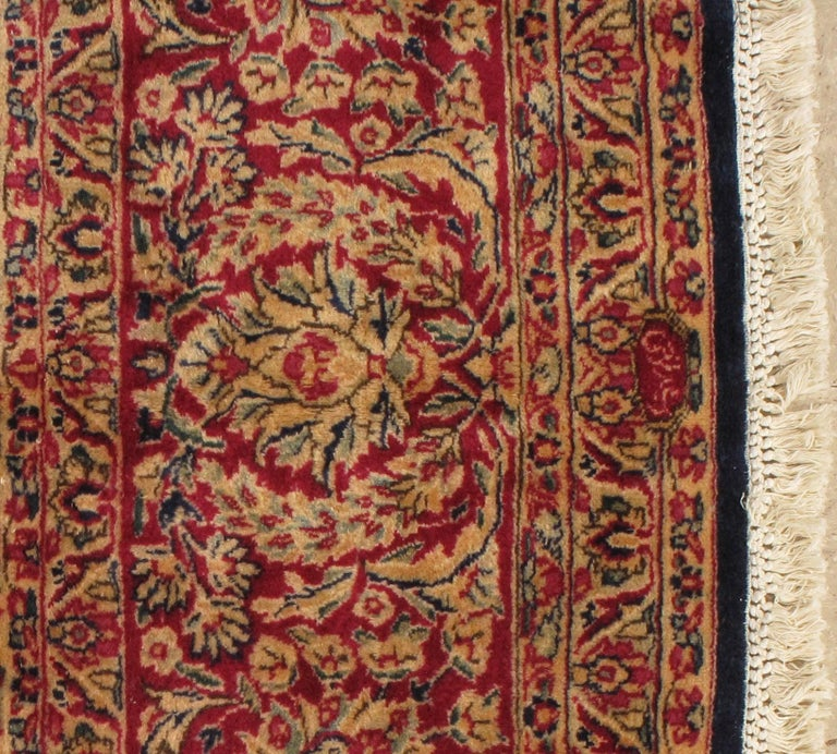 Antique Kerman Carpet, Persian Handmade Oriental Rug, Red and Blue, Allover For Sale 7