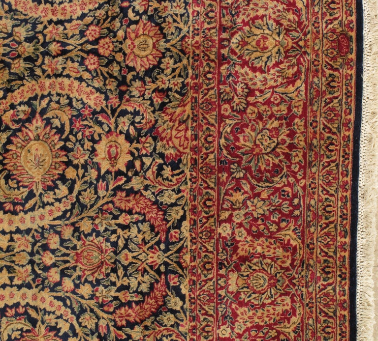 20th Century Antique Kerman Carpet, Persian Handmade Oriental Rug, Red and Blue, Allover For Sale