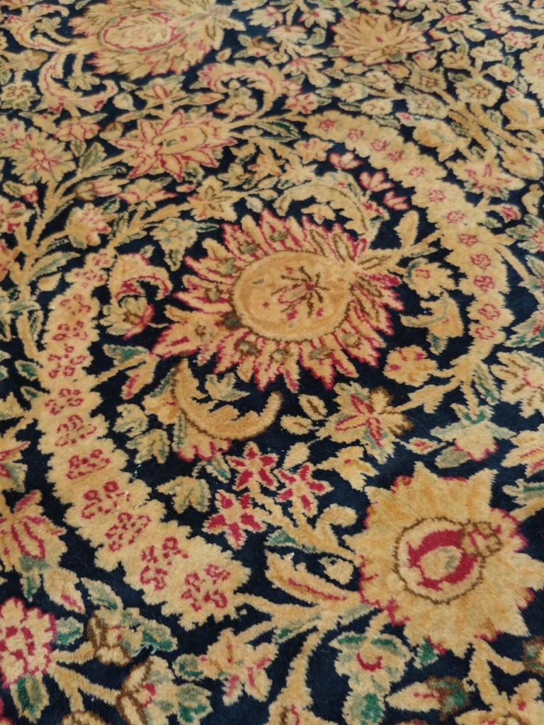 Antique Kerman Carpet, Persian Handmade Oriental Rug, Red and Blue, Allover For Sale 1