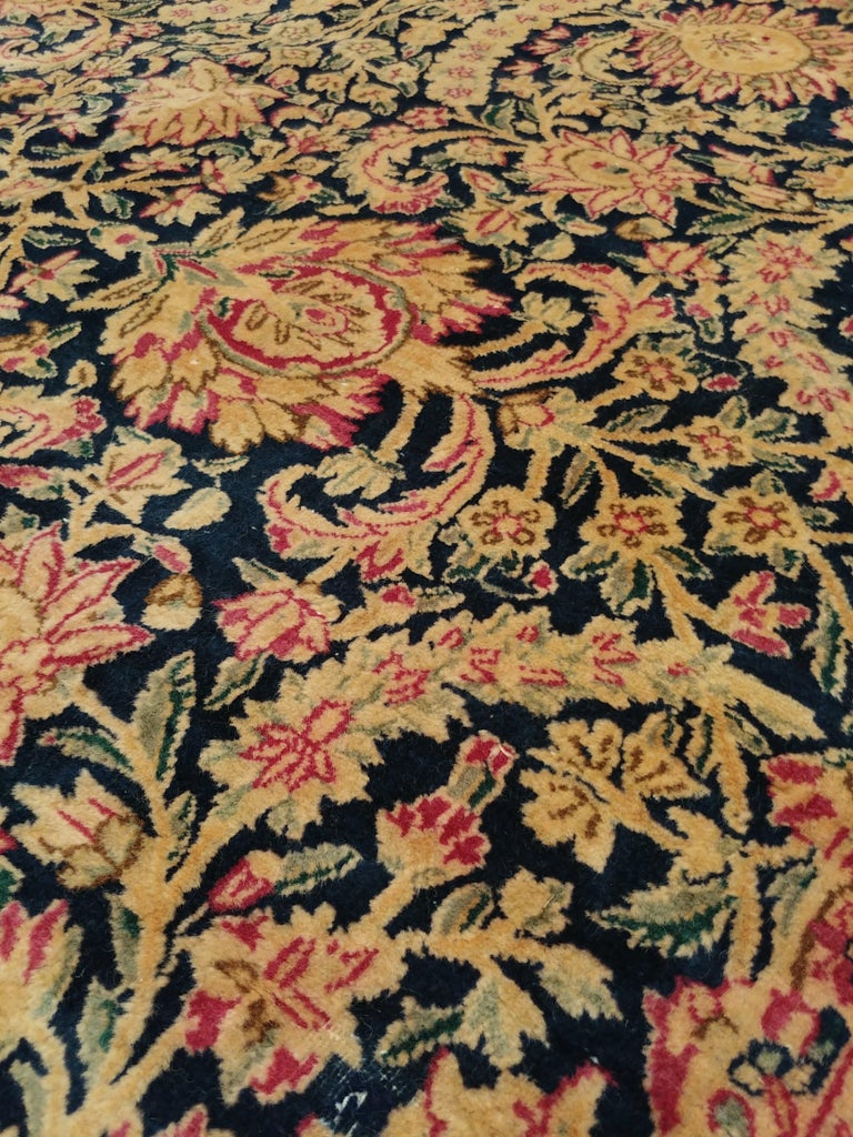 Antique Kerman Carpet, Persian Handmade Oriental Rug, Red and Blue, Allover For Sale 2