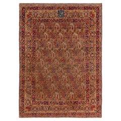 Antique Kerman Lavar Golden-Beige and Purple Wool Rug with Boteh Patterns