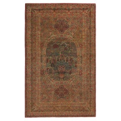 Antique Kerman Lavar Red and Blue Wool Persian Rug