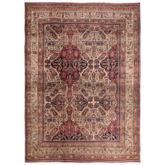 Antique Kerman Lavar Red and Brown Persian Floral Rug