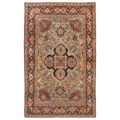 Antique Kerman Lavar Traditional Beige and Pink Wool Persian Rug