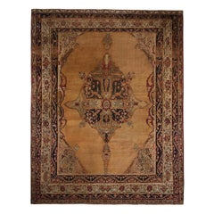 Antique Kerman Medallion-Style Beige and Copper-Brown Wool Persian Rug