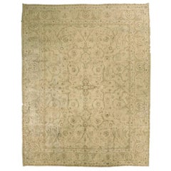 Antique Kerman Persian Rug with Floral Details in Ivory and Brown, circa 1960s