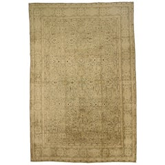 Antique Kerman Persian Rug with Ivory and Brown Floral Details, circa 1950s