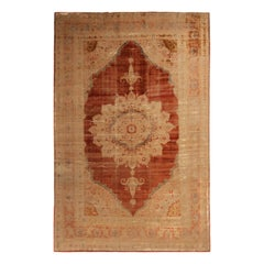 Antique Kerman Traditional Copper Brown and Beige Silk Persian Rug