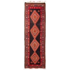 Antique Kermanshah Red and Blue Persian Kilim Rug