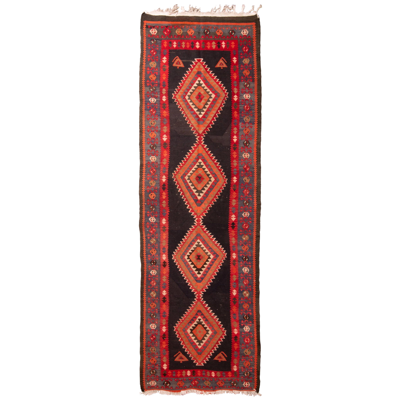 Antique Kermanshah Wool Red and Blue Persian Geometric Pattern Kilim Rug